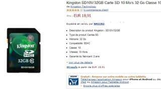 Moins de 19 euros la Carte SDHC Kingston 32 Go Classe 10