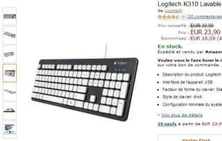 Clavier filaire USB Logitech K310 Lavable à 29,90 euros