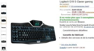 promo Clavier gaming Logitech G19 S