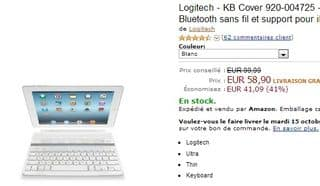 Clavier/protection iPad Bluetooth sans fil Logitech