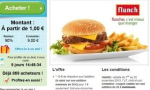 1 euro le bon d'achat de 10 euros FLUNCH