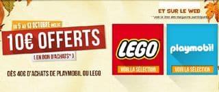 10 euros offerts pour 40 euros d'achats Lego Playmobil
