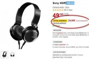 Moins de 25 euros le Casque Sony MDR-XB400