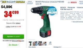 Perceuse visseuse sans fil BOSCH PSR 960 à 35 euros