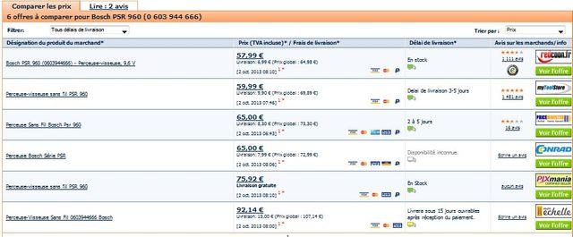 Perceuse visseuse sans fil BOSCH PSR 960 pas chère