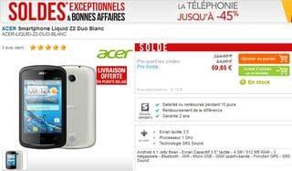 Smartphone Acer Liquid Z2 Duo Blanc en soldes