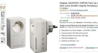 Vente flash 2 adaptateurs CPL 200 Mbit/s Nano avec prise Netgear à moins de 30 euros