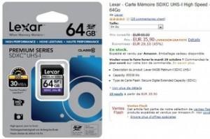 Vente flash carte Micro SDXC 64Go Transcend Classe 10