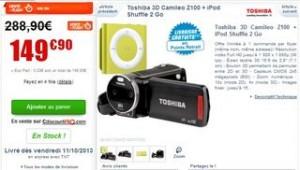 Moins de 150 euros le caméscope Toshiba 3D Camileo Z100 + iPod Shuffle GRATUIT