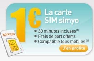 carte prepayee Simyo 30 minutes a 1 euro