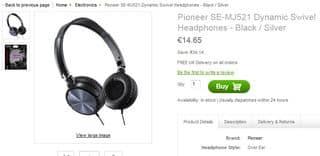casque Pioneer SE-MJ521 à moins de 15 euros