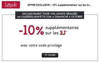 Aujourd'hui seulement -10% suppl. sur les 3J Galeries Lafayette (jusqu'à moins 60%)