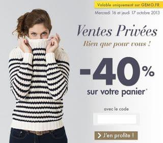 code promo GEMO 40 pourcent