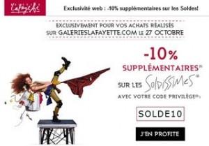 code promo soldes Galeries Lafayette octobre