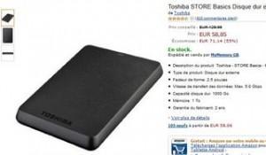 disque dur externe 1 To Toshiba USB 3 moins de 60 euros