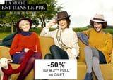Offre -50% sur le 2ème pull ou gilet chez La Halle