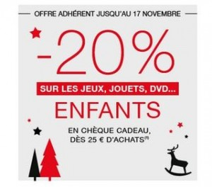 Offre FNAC Adhérents sur les jouets : 20% en cheque FNAC dès 25 euros d'achat