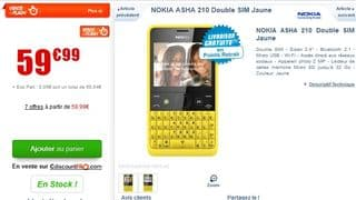 vente flash NOKIA Asha 210 Dual Sim Jaune