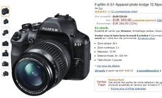vente flash appareil photo bridge Fujifilm X-S1