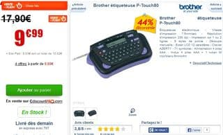 vente flash etiqueteuse Brother P-Touch 80
