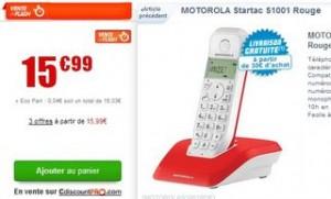 15,99 euros le téléphone sans fil Motorola Startac S1001 (soit 10 euros d'économie)