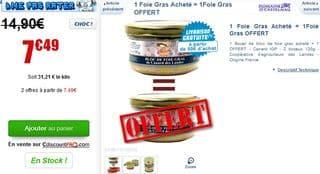 1 foie gras offert pour 1 foie gras achete