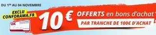 10 euros pour 100 euros Conforama