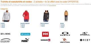 2 T-shirts sweats ou vestes achetes le 3eme offert