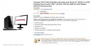 349 euros ordinateur bureau HP Compaq et Ecran 20 pouces et carte Amazon 50 euros offerte