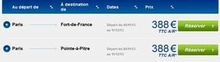 388 euros billets avion antilles
