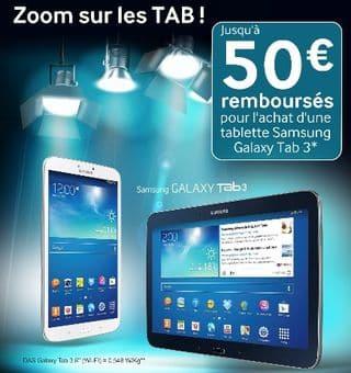 50 euros rembourses Samsung Galaxy Tab 3 2013