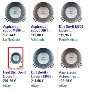 moins de 70 euros l aspirateur robot dirt devil m606 port. Black Bedroom Furniture Sets. Home Design Ideas
