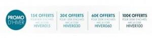 Codes promo de 15 à 100 euros de réduction sur la promo Hiver