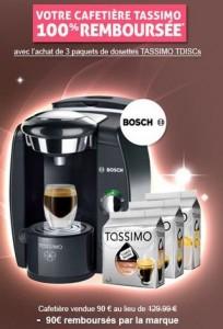 Cafetiere a dosettes BOSCH TASSIMO gratuite