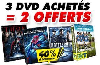 3 DVD achetés = 2 Gratuits