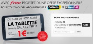 FREE CANAL + Tablette Samsung a 1 euro