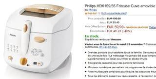 moins de 60 euros la friteuse philips 1 3 kg au lieu de 100 euros. Black Bedroom Furniture Sets. Home Design Ideas