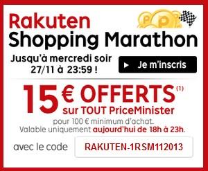 Code promo PriceMinister 15 euros pour 100 euros d'achats