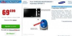 Moins de 70 euros le four micro-ondes Samsung et aspirateur Samsung gratuit