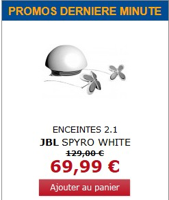 Moins de 70 euros les enceintes 2.1 JBL Spyro White