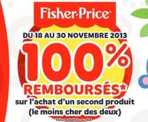 Offre de remboursement ODR : votre 2ème jouet Fisher-Price