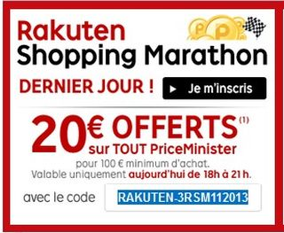 20 euros offerts pour 100 euros PriceMinister