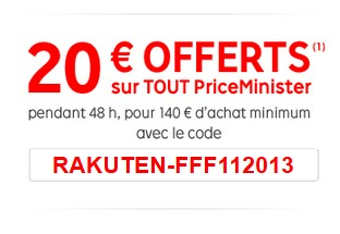Priceminister 20 euros offerts