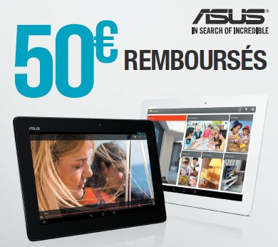 offre remboursement tablette asus memo 50 euros. Black Bedroom Furniture Sets. Home Design Ideas
