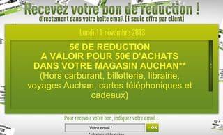 Bon de réduction 5 euros Hypermarché Auchan