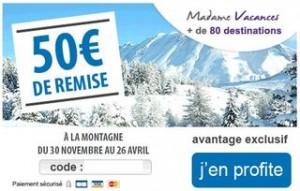 code promo 50 euros Madame Vacances