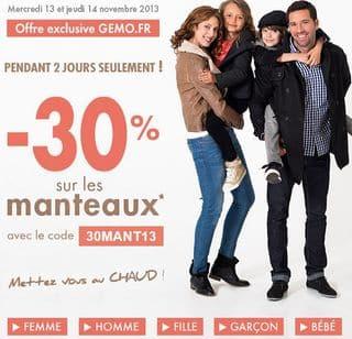 code promo GEMO 30 pourcent sur les manteaux