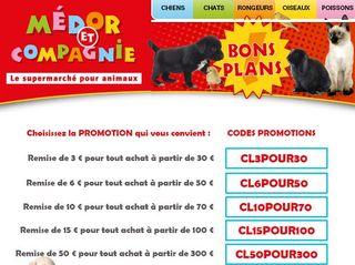 De 3 à 50 euros de réduction sur l'animalerie Médor et Compagnie