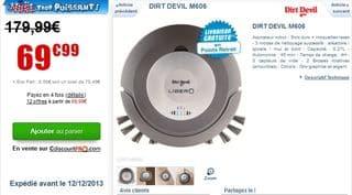 moins de 70 euros l'aspirateur robot Dirt Devil M606