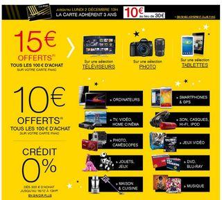 offre FNAC 15 euros offerts tous les 100 euros